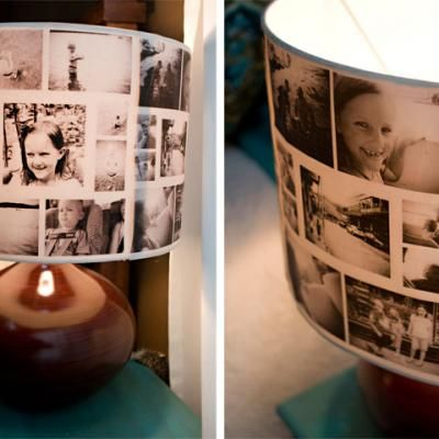 HOW TO CREATE A PHOTO COLLAGE LAMPSHADE {DIY LIGHT}  this is such a fantastic idea. now off to find the slide lampshade idea too!! : )