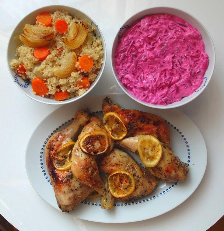 Aneta Goes Yummi: Pečené citrónové kurča s quinoou a cviklovým jogurtom