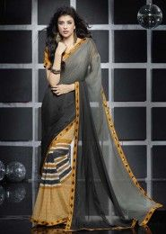 Casual Wear  Georgette Black Lace Border Work Saree