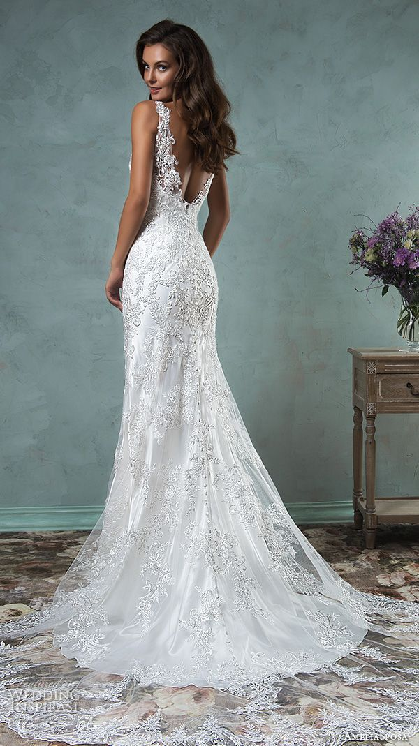 amelia sposa 2016 wedding dresses lace strap v neckline embroidery satin beautiful trumpet fit to flare mermaid wedding dress adelina back