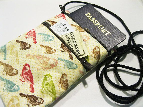 Fabric Travel Pouch Neck Wallet Travel Accessory