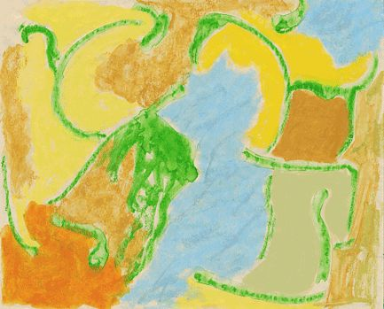 """""""Work 01""""by sanae   h17.9cm w 22.4 cm Gouache and Water-soluble on Paper 2003"""