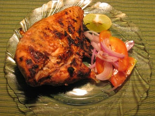 Tandoori Chicken, the traditional Indian favourite. Chicken marinated in Indian spices and cooked in the traditional oven, the tandoor.