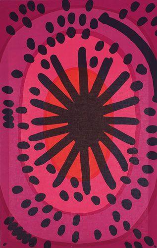 """Maija Isola fabric panel, by Marimekko, """"Melooni"""" pattern, 1963, screen print on cotton."""