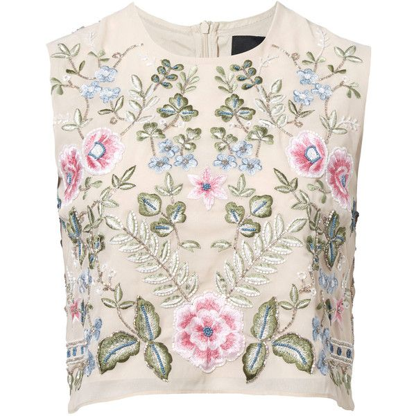 Needle and Thread Beige Spring Embroidery Sleeveless Top (7,195 PHP) ❤ liked on Polyvore featuring tops, shirts, blusa, crop top, holiday shirts, polyester shirt, pink shirt and zip crop top