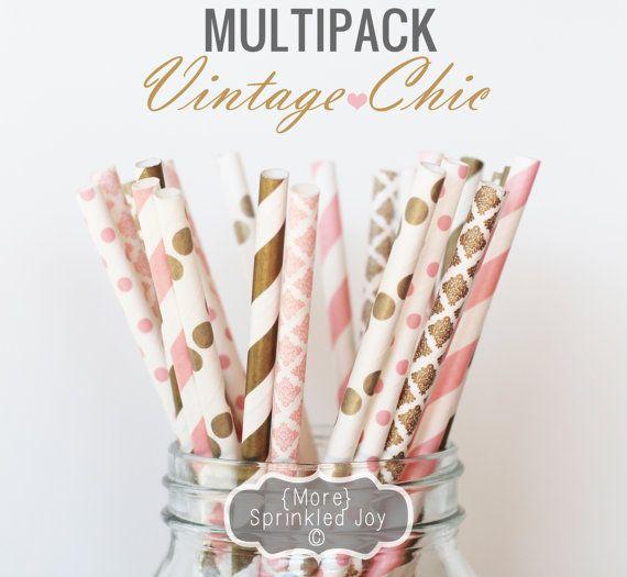 VINTAGE CHIC Paper Straws, Multipack, Pink, Blush, Gold, Light Pink, Wedding, Bulk, Damask, Dots, Vintage, 25 Straws, Stripes, Shower, Party...