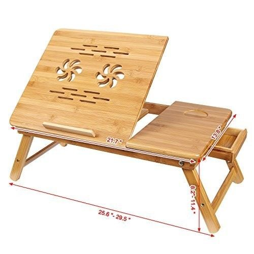 Laptop Desk Table Portable Foldable Breakfast Serving Bed Tray Stand Tilting Top #SONGMICS