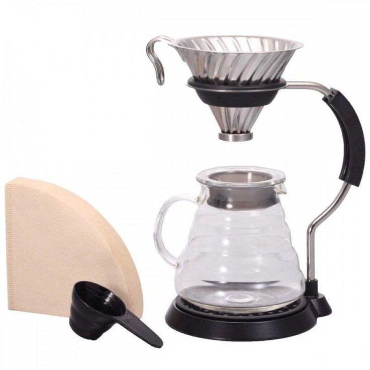 This Hario V60 Metal Pour Over Set also ships with a 600ml range server with volume markings on the side and a heat retaining lid. The stainless steel stand wraps the whole set together visually and makes pouring your water easier, since the dripper is raised to a more comfortable height. You'll also find a coffee scoop and 40 paper filters to get you started.