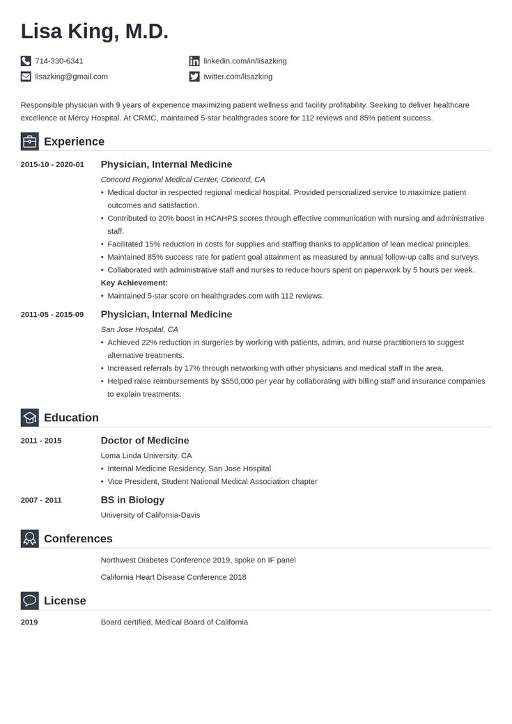 doctor resume example template iconic  cv template