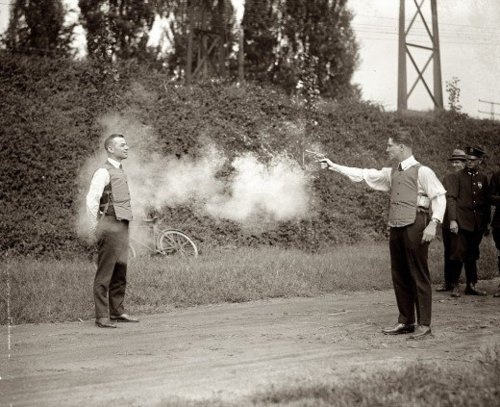 Testing a bulletproof vest, 1923