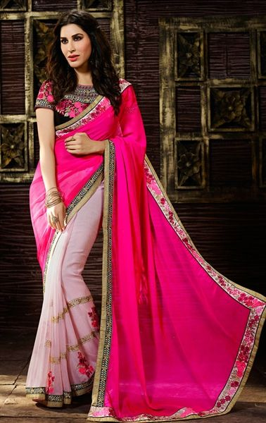 Picture of Splendorous Deep Pink and MisrtyRose Georgette Saree
