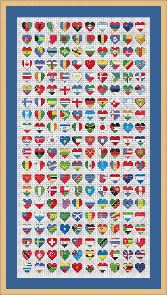 Flags of the World Cross Stitch Chart by HollysHobbiesUK on Etsy, £4.99