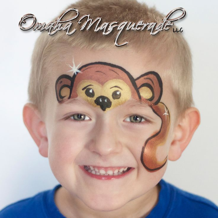 Adorable monkey face painting by Sonya of www.omahamasquerade.com