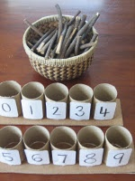 montessori style counting...love the use of sticks instead of spindles!! so creative for the home!!!