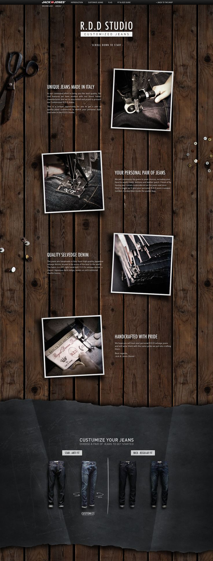 Webdesign - one page website - jean - mode - fashion