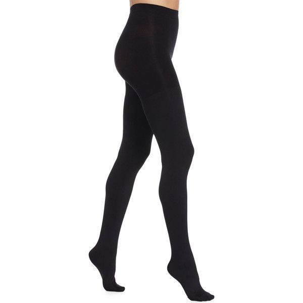 Spanx Luxe Blackout Opaque Tights (53 AUD) ❤ liked on Polyvore featuring intimates, hosiery, tights, very black, spanx stockings, opaque pantyhose, spanx tights, opaque hosiery and spanx hosiery
