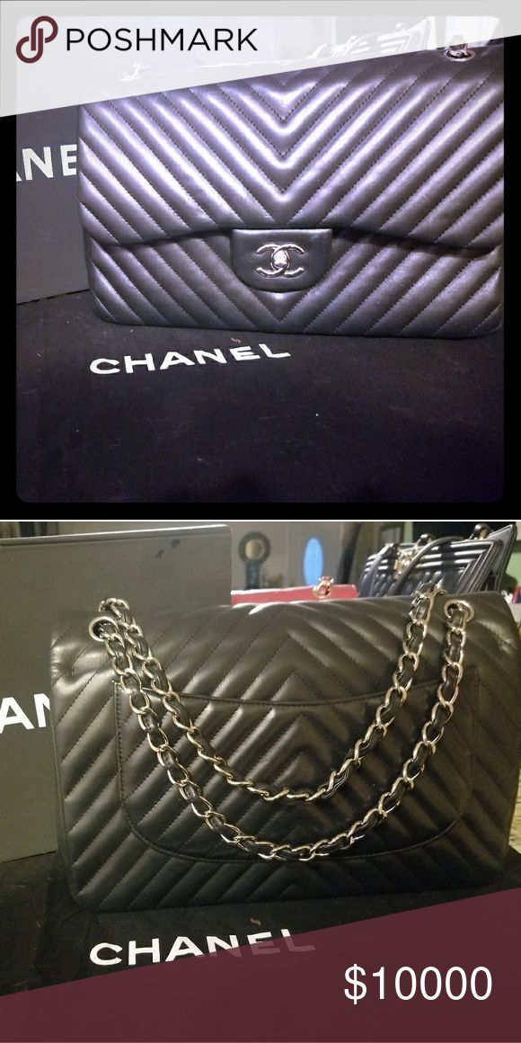 CHANEL CLASSIC JUMBO IN LAMBSKIN LEATHER *** NOT LOOKING TO SELL YET***  11.8″ W x 7.7″ H x 3.9″ D  Lambskin Leather CHANEL Bags