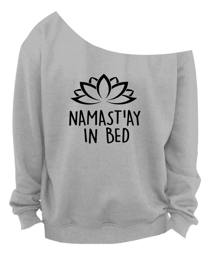 Slouchy Sweatshirt Namast'ay In Bed Lotus Raw Edge Off Shoulder Sweatshirt SM-4X, yoga clothes, workout top, boho style, bohemian clothing