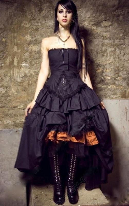 Gothic Corset Wedding Vampire Halloween Steampunk Lolita Burlesque Black Dress