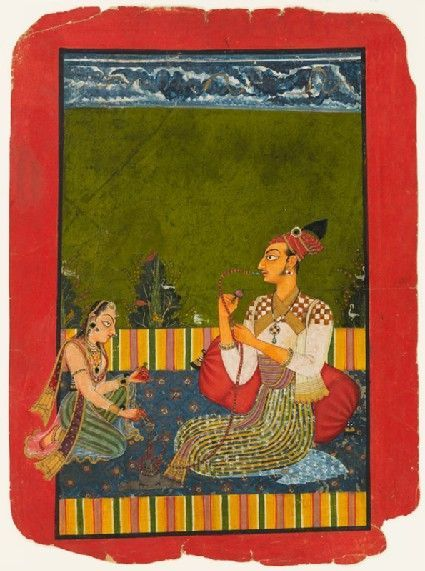 ca. 1730 Maharaja Medini Pal smoking paan (betel leaf mixture) in a hookah. Paan was chewed long before the hookah arrived in India in the 17th C. Basholi, India.: