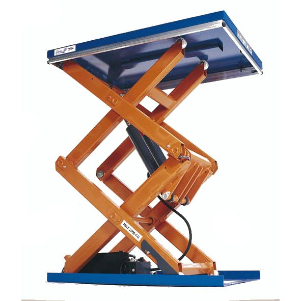 Static Scissor Lift Table capable of lifting 2000kg, using a hydraulic platform to raise and lower loads,Convenient solution to handling of heavy goods.