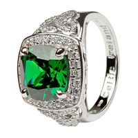 Shanore Silver Green Cz Trinity Knot Halo Ring