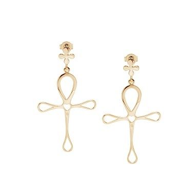 The Ankh earrings by Lilou: a new jewel inspired by Egyptian Antiquity, as well as life, eternity and love! Available in 23k gold-plated or 925 silver #lilou #ankh #earrings #egyptian #life #eternity #love