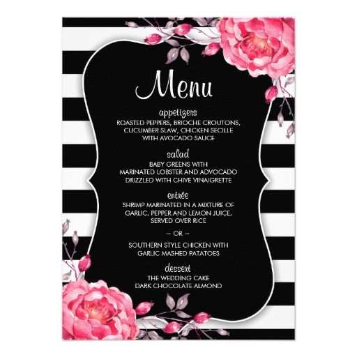 32 best Floral Black And White Striped Wedding Invitations images – Black White and Pink Wedding Invitations