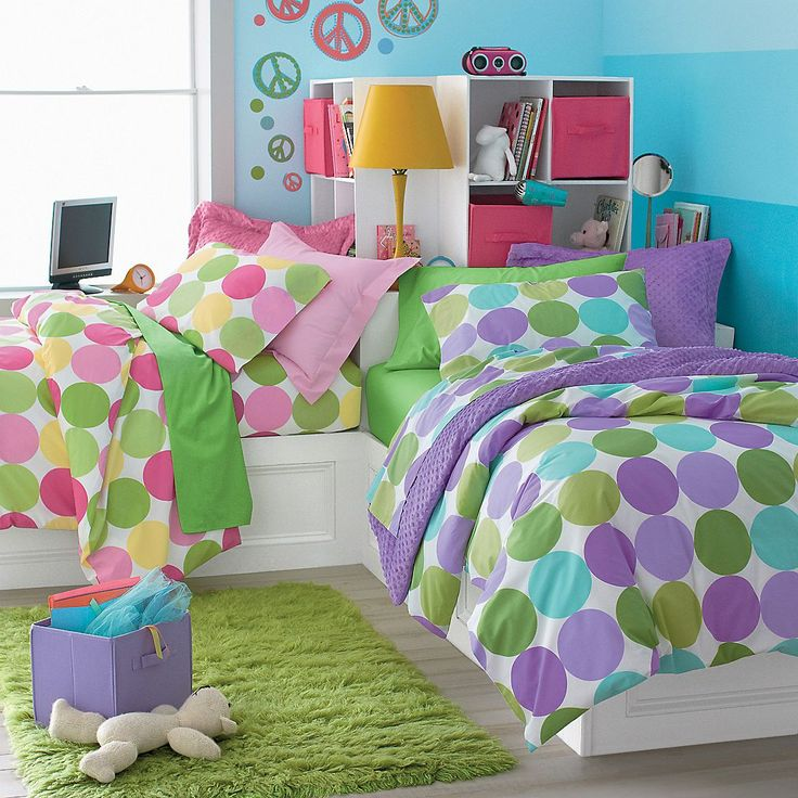 ava and norah?: Polka Dots, Girls Generation, Corner Beds, Girls Beds, Peace Signs, Kids Room, Girls Room, Room Ideas, Bright Colors