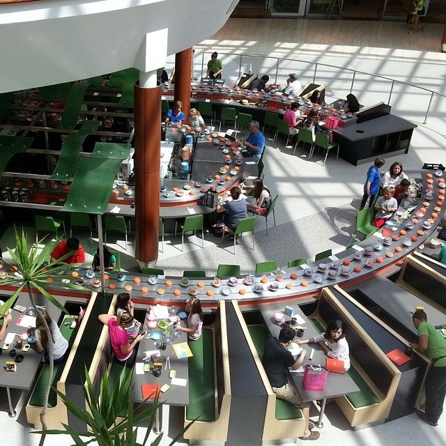 A cool rotating Sushi Bar at the Natick Mall in Massachusetts.