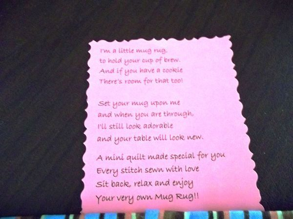 Mug Rug Poem Google Search Mug Rugs Pot Holders Table