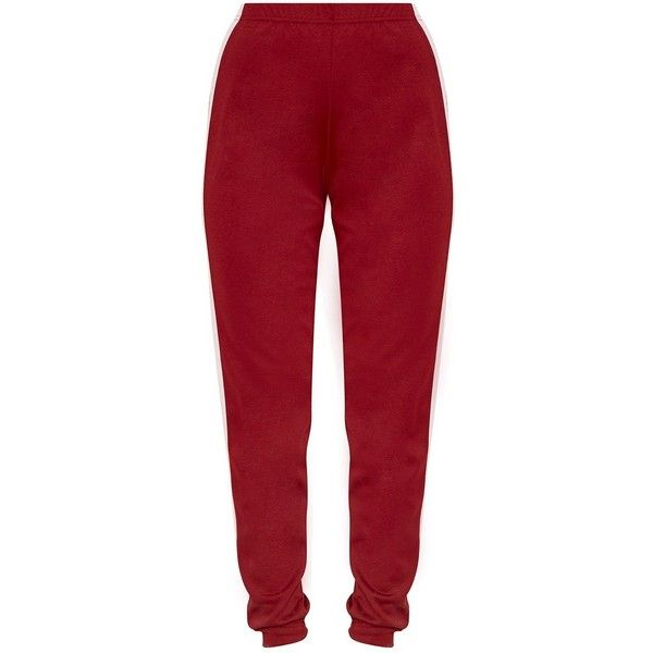 Petite Leonara Burgundy Side Stripe Crepe Joggers ❤ liked on Polyvore featuring activewear, activewear pants, pants, petite activewear, petite activewear pants and petite sportswear