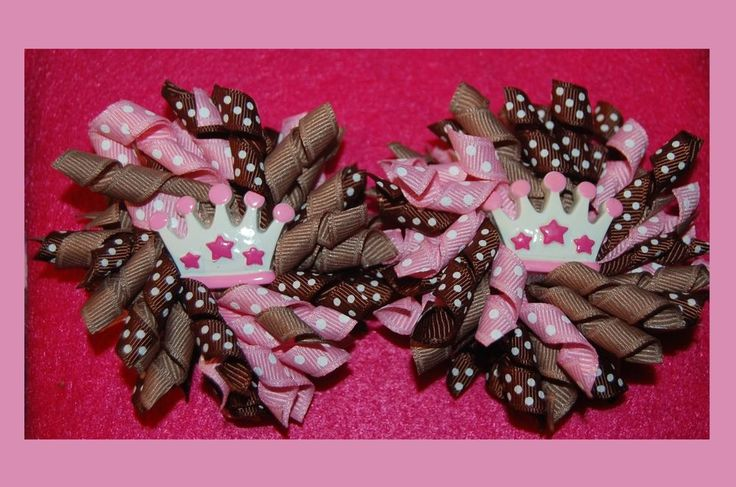 Princess Crown Pink/Brown SET (2) KORKER HAIR BOWS with Alligator Clips #Handmade