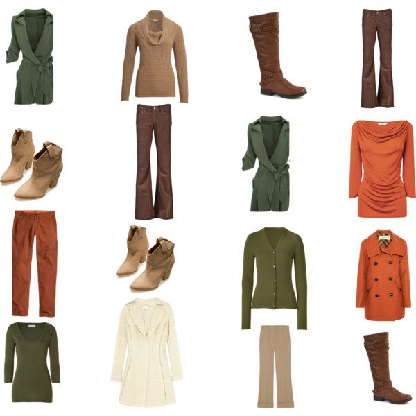 """Winter Olive, Cream and Rust/Beige Capsule Wardrobe in Autumn Colours"" by bec-robbie on Polyvore"