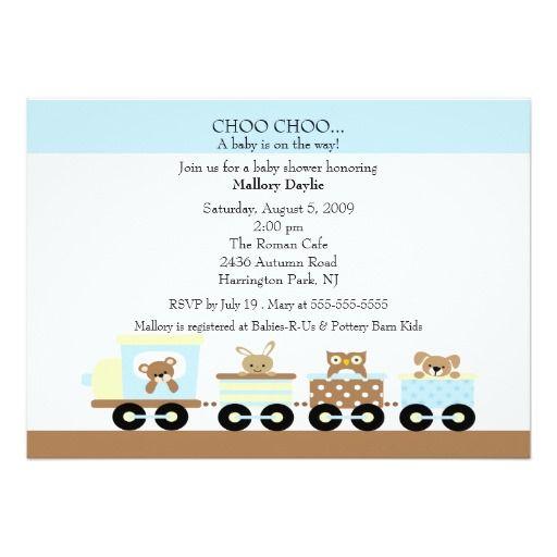 choo choo baby train boy baby shower card