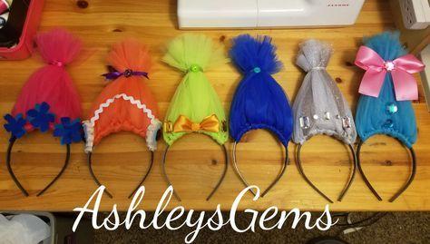 Trolls Headbands, Trolls Birthday Party, Trolls Favors, Trolls Accessories, Trolls Hair, Poppy Headband, Poppy Hat, Poppy Troll by AshleysGemsShop on Etsy https://www.etsy.com/listing/491475672/trolls-headbands-trolls-birthday-party