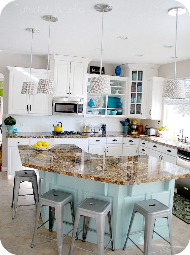 Aqua And White Kitchen Reveal