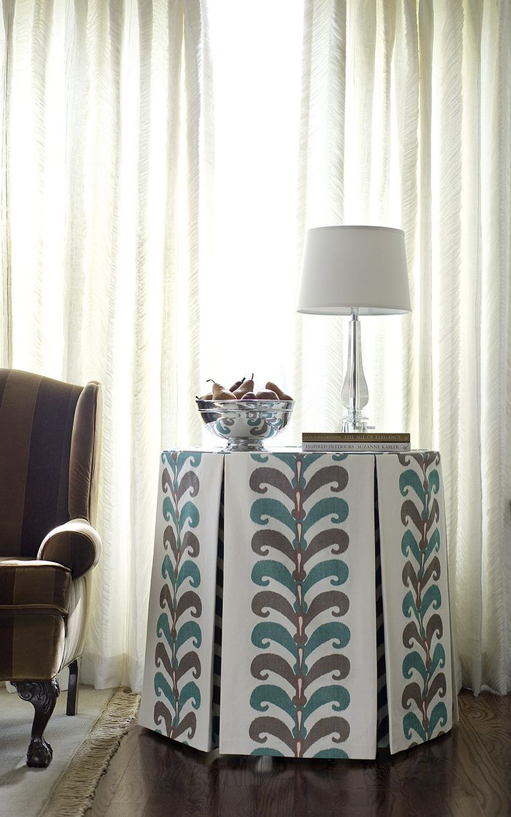 57 best skirted tables images on pinterest stairs beach and bedroom tailored inverted pleat table skirt vervains ikat leaves in color seaglass geotapseo Image collections