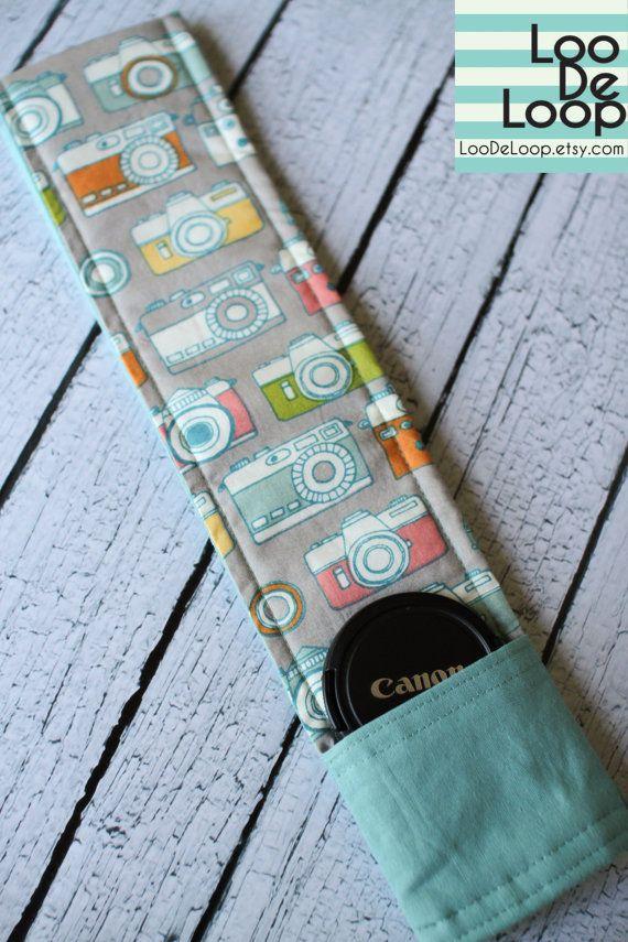 Organic Cotton DSLR Camera Strap Cover w/ Lens Cap Pocket. $28.00, via Etsy.Organic Cotton, Camera Straps, Cameras Fabrics Ideas, Dslr Cameras, Straps Covers, Lens Cap, Cotton Dslr, Cameras Straps, Cap Pocket