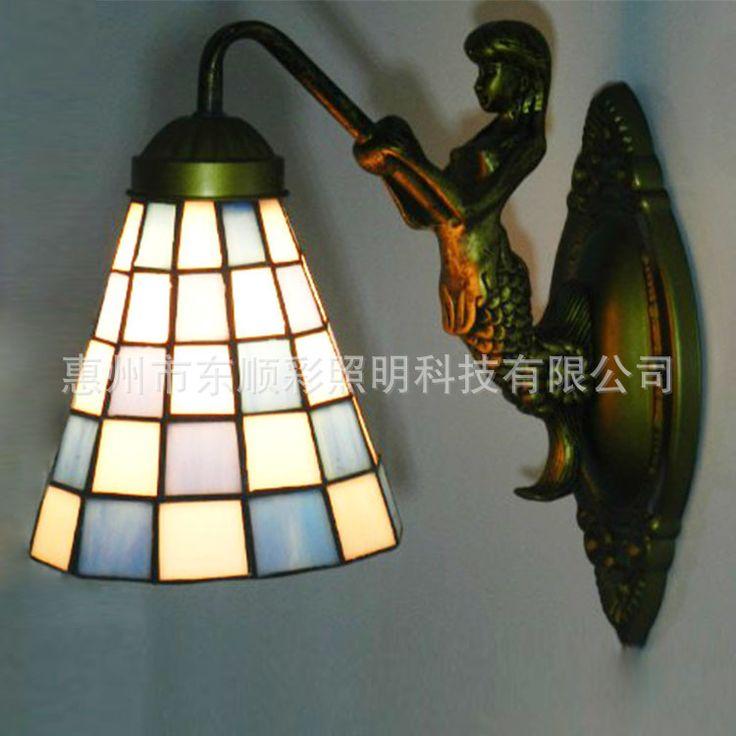lámpara de pasillo, vidrio y bronce