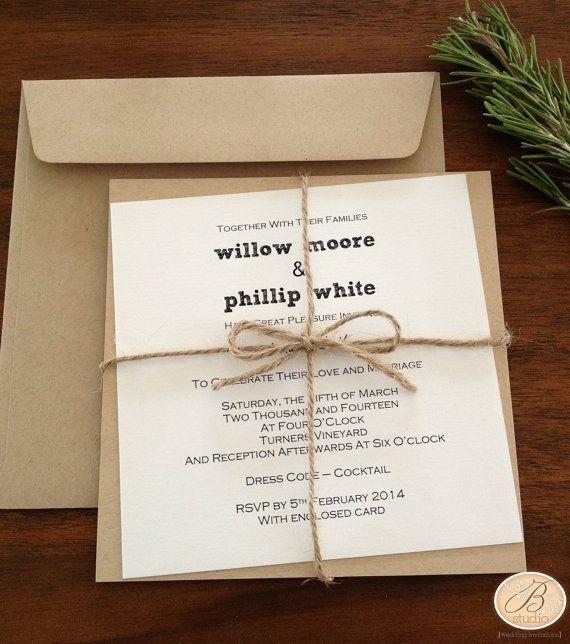 Scroll Wedding Invitations Australia: Rustic Wedding Invitation With Twine 'Tying By Knot' By
