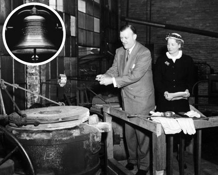 Maryland Gov. Theodore McKeldin and Mrs. A. Felix DuPont in 1953 pour the metal made from melted chains used to restrain people with mental illnesses to create the Mental Health Bell, which has since served as the symbol for Mental Health America.
