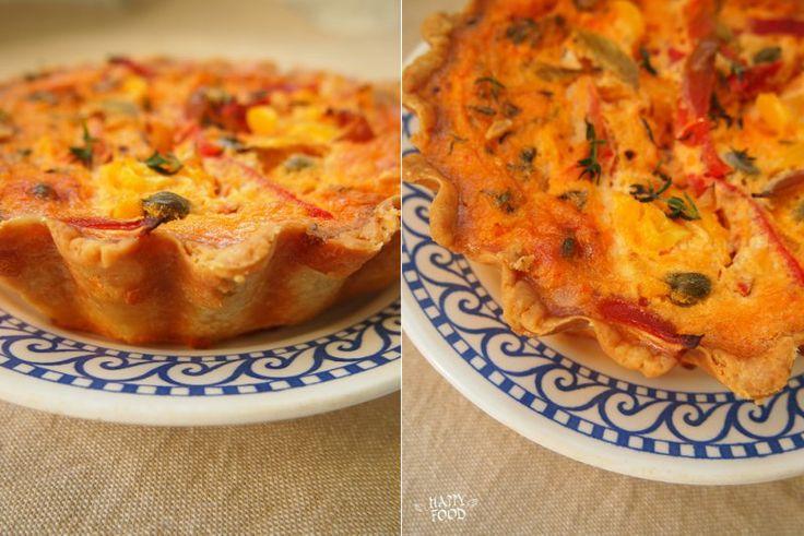 Овощной пирог с перцем и томатным кремом