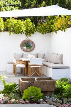 Corner Seating Area With Built In Benches And Sun Shade Modern Organic Mod