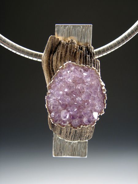 Necklace | Christine L Sundt.  'Tip Top'  Amethyst, driftwood, sterling silver  (pendant can also be worn as a brooch)