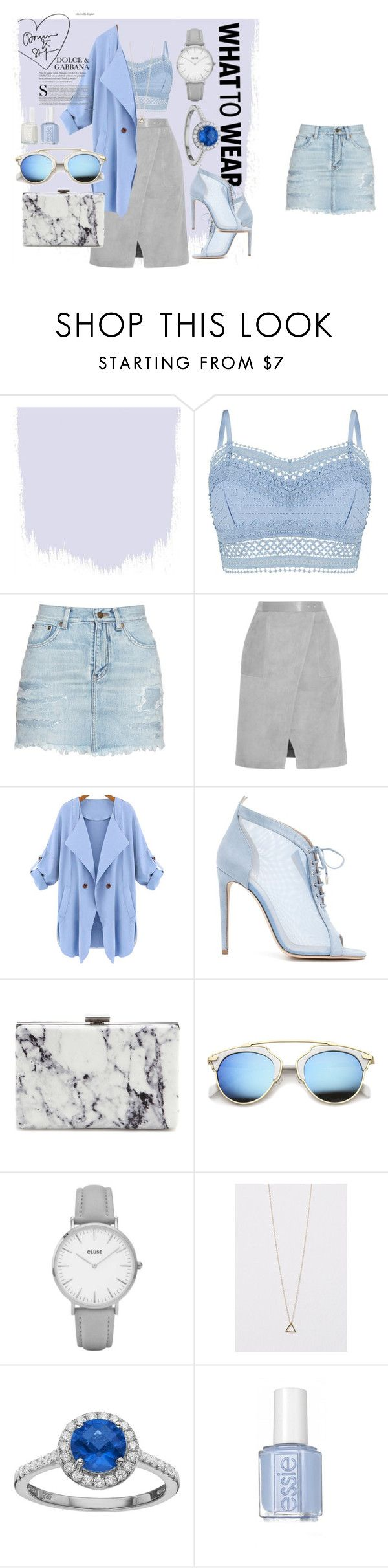 """Blue lagune mood."" by ro-mondryk on Polyvore featuring Lipsy, Yves Saint Laurent, Halston Heritage, WithChic, Chloe Gosselin, Balenciaga, Topshop, Rebecca Sloane and Essie"