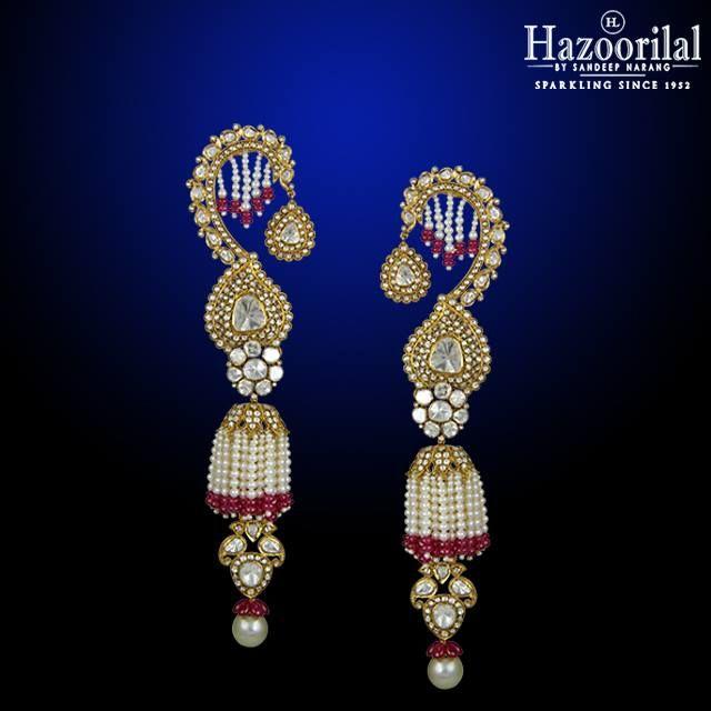 Polki Power.  The most feminine and traditional pair of polki diamond earrings only from the House of #HazoorilalBySandeepNarang #Polki #Kundan #BridalJewellery #IndianBrides #Hazoorilal