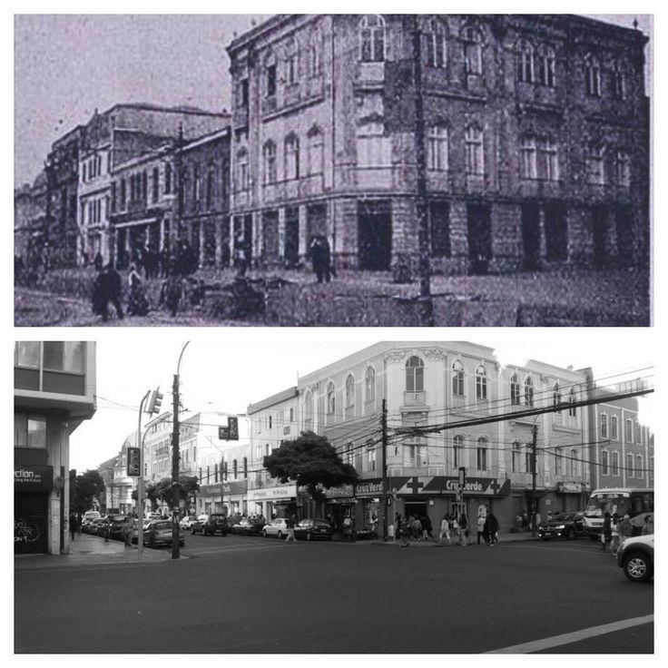Valparaiso. Panorámica de la intersección de las calles Independencia esq. Edwards 1909 - 2015