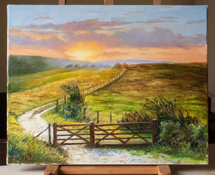 Sunrise on the South Downs, West Sussex. Oil on canvas - painting by Dinah Beaton