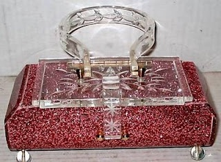 Lovely Red Glitter Lucite Purse.